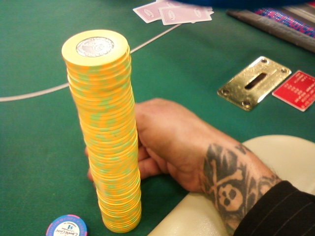 Anthony Mandich and a nice little stack of chips